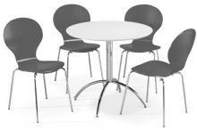 Kimberley Dining Set White Table & 4 Slate Grey Chairs 1/2 Price Deal
